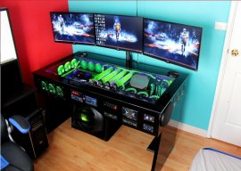 watercooled pc desk mod with built in car audio system techpowerup forums. Black Bedroom Furniture Sets. Home Design Ideas